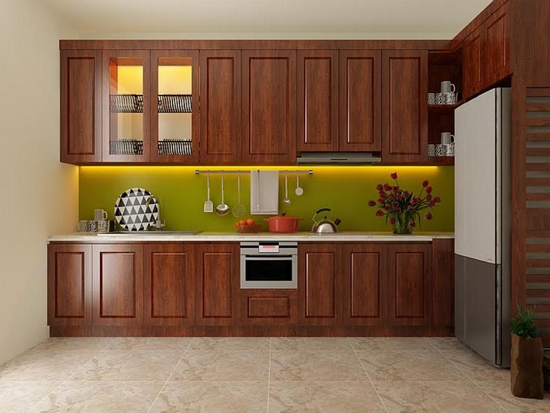 Tủ bếp gỗ xoan đào được sử dụng hiện nay