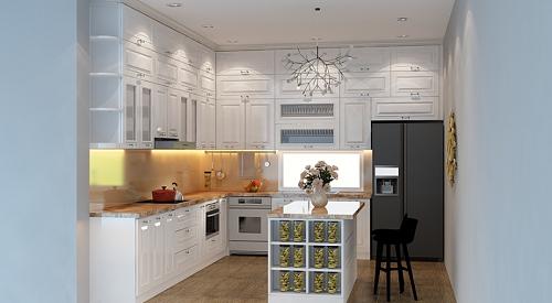 tủ bếp gỗ xoan đào có thể sử dụng nhiều màu sơn khác nhau để phù hợp với không gian nội thất của ngôi nhà