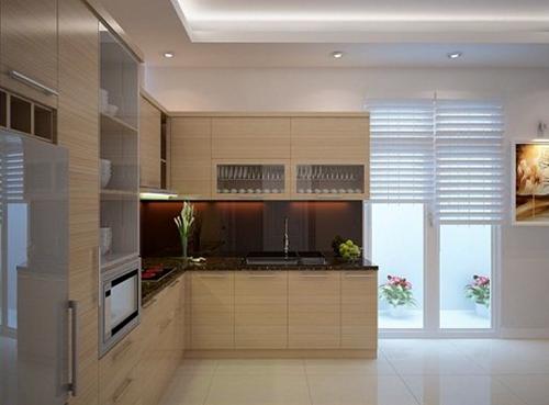 Tủ bếp làm bằng gô veneer sang trọng và hiện đại