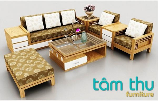 sofa gỗ góc tiết kiệm diện tích