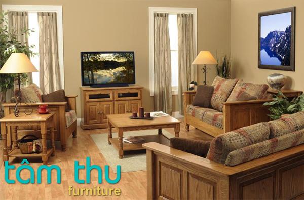sofa gỗ sồi hiện đại