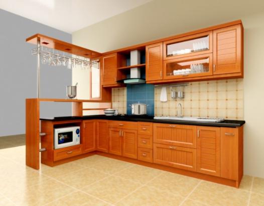 Tủ bếp gỗ theo phong cách hiện đại