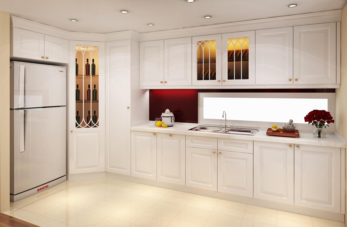 Mẫu tủ bếp gỗ âm tường