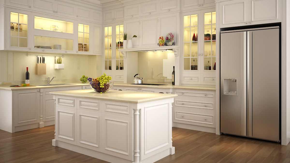 Tủ bếp gỗ sồi dát trắng