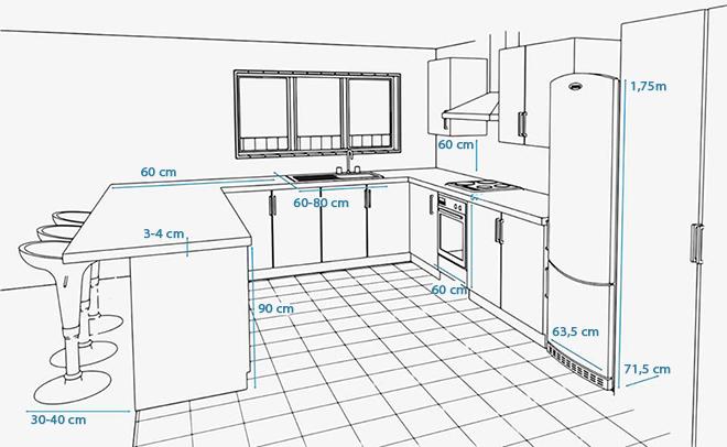Thiết kế tủ bếp gỗ theo kích thước