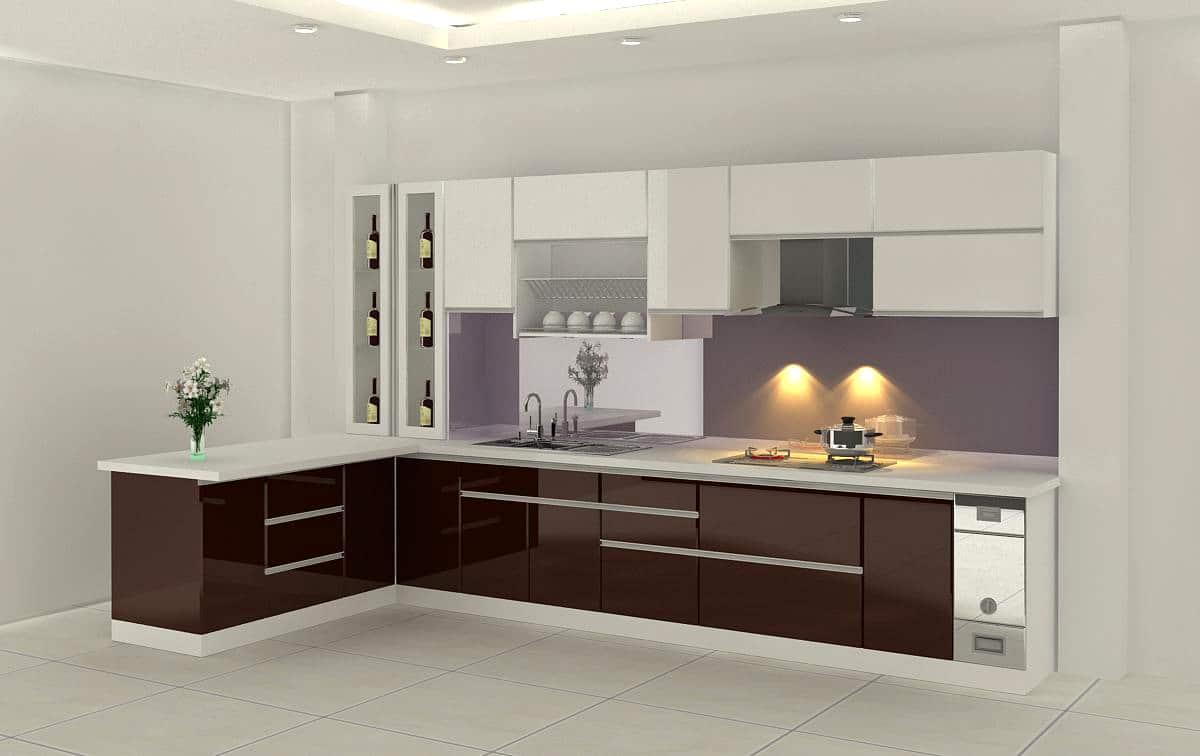 Thiết kế tủ bếp gỗ hình chữ I
