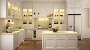 Thiết kế tủ bếp gỗ trắng đơn giản