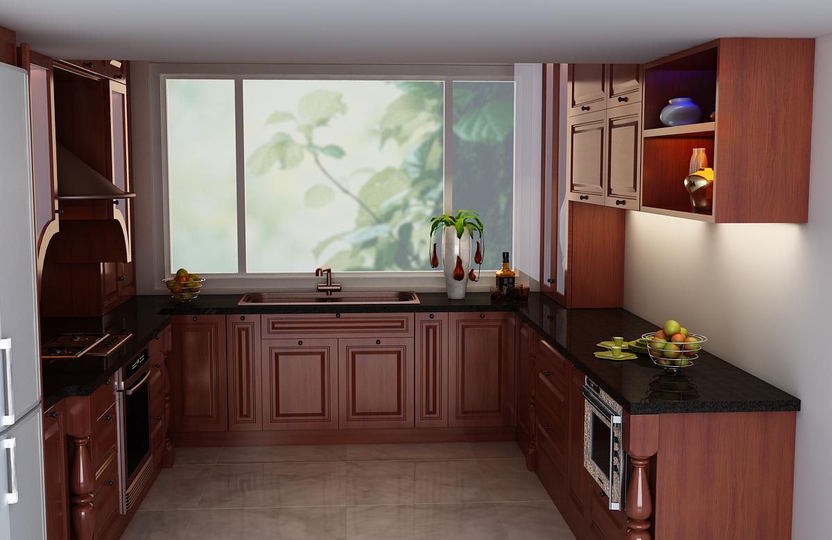 Mẫu tủ bếp gỗ xoan đào màu nâu đỏ